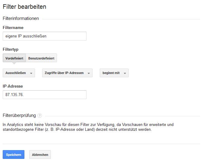 Google Analytics: Gekürzte IP-Adresse